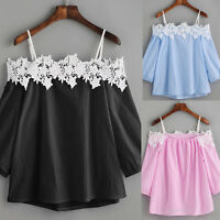 Fashion Womens Off shoulder Lace T-Shirt Top Ladies Long Sleeve Tops Tee Blouse