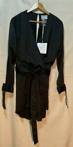 NWT   PREMONITION   Size 12   Luxury Black Satin Playsuit   L/S Open Back