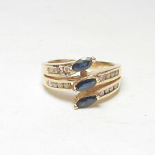Estate 14K Yellow Gold Natural Marquise Blue Sapphire And Diamond Ring 0.60 Cts