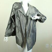 FLAWS Zoran grey silk metallic open jacket topper lagenlook minimal boxy O/S
