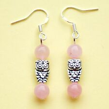 Owl Earrings Rose Quartz Gemstone Sterling Silver Hooks Drop Dangle LB314