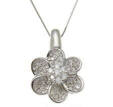0.30ct CT TW Diamante Flor Colgante En Sólido 14k ORO BLANCO