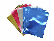 50 x Misto a4 duur/fogli di carta SPECCHIO 220gsm - (oro, argento, blu & rosso)