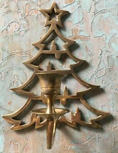 """8"""" Brass Christmas Tree Taper Candle Holder-- Wall Mount India"""