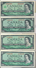 RC0124 Canada 1954 $1 AU~UNC lot of 4, various signiture combine shipping