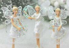 GISELA GRAHAM CHRISTMAS MIDNIGHT GLADE WHITE FAIRY DECORATION SMALL X 3