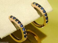 sE027 Genuine 9K Rose Gold NATURAL Sapphire HUGGIE Earrings September Birthstone