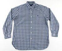 Polo Ralph Lauren Mens 16 Plaid Button Down Long Sleeve Dress Shirt Blue Green