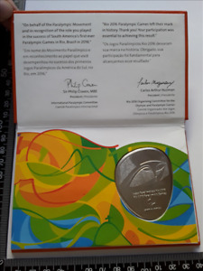 RE002 - Official Paralympic Participation Medal Rio 2016 Original Folder in Box