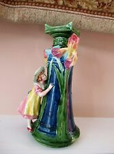"""ANTIQUE FRENCH ART NOUVEAU 11"""" MAJOLICA FIGURAL VASE YOUNG GIRL W IRIS FLOWERS"""