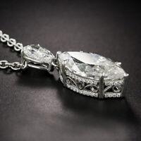 "3ct D/VVS1 Diamond Pendant Necklace 14K White Gold Over W/18"" Free Chain"