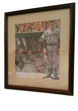 """Norman Rockwell """"The Dugout"""" Art Print Framed & Matted Chicago Cubs Mlb Baseball"""