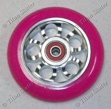 100mm Neon Pink/Silver Scooter Wheel Aero Alloy Metal Core with MGP K1 Bearings!