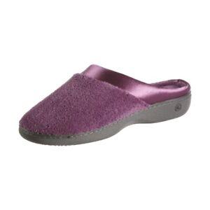 Isotoner Microterry Pillowstep Satin Clog  Ultra Violet Medium (7.5-8)