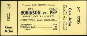 SUGAR RAY ROBINSON-WILLIE PEP FULL EXHIBITION TICKET (1965)