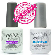 Gelish Harmony Top and Base Coat Gelish Top it off and Foundation free shipping