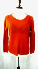 CLUB MONACO Women L Rust Orange Acrylic/Mohair Blend Round Neck Rib Knit Sweater