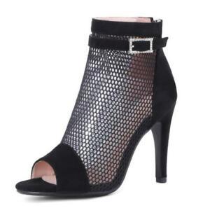 Sexy Women Peep Toe High Heel Sandals Hollow Out Mesh Zipper Ankle Boots 45 46 L