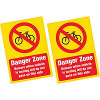 2 x Danger Zone Cyclist Beware Warning Vinyl Sticker HGV Lorry Van