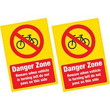 2 x zona pericolosa Ciclista attenzione grandi Avvertimento Adesivo Vinile Mezzi Pesanti Camion Van