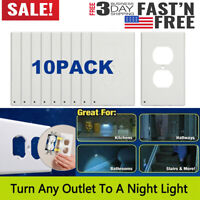 10x Wall Duplex Outlet Cover Plate With LED Night Light Hallway Bedroom Bathroom
