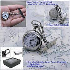 Silver Tone Nurse Doctor Brooch Pocket Fob Watch Quartz Movement Pin Gift Box 27