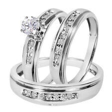 14k White Gold Finish 1CT Diamond His & Her Trio Wedding Ring Set