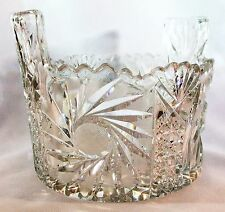 Antique Clear Crystal Ice Bucket with an Ornate Pattern