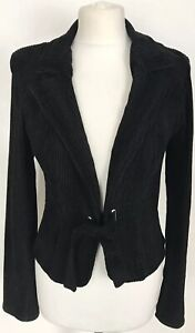 Womens Black Corduroy Fitted Jacket With Belt & Padded Shoulders Size UK 8
