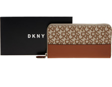 DKNY Signature Logo Zip Around Large Matinee Purse Wallet Authentic