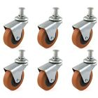 "6 PACK SWIVEL CASTERS 2.5"" WHEELS SET FOR CREEPER SERVICE CART Mount Stool Post"