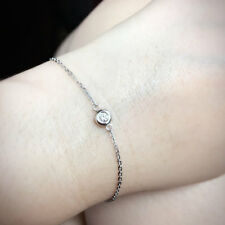 Bezel Set Diamond Bracelet.Minimalist Bracelet.14K Solitaire Diamond Bracelet.