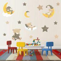 Moon Star Baby Bear Wall Sticker Kids Room Cartoon Animal Wall Decal Wall Decor