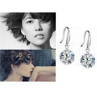 1 Pair Women Crystal Zircon Dangle Round Drop Hook Earrings Ear Stud Jewelry