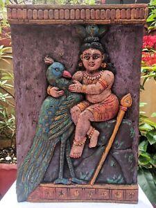 Kartikeya Wall Hanging Panel Wooden Muruga Peacock Sculpture Hindu Home Decor