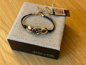 """Wt Uno de 50 Brown Leather Bracelet W/ Gold-plated Gray Crystal """"Too Much"""""""