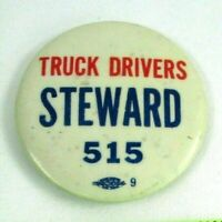 1950s Vintage Pin Button Pinback Truck Drivers Steward 515 Chattanooga Tennessee