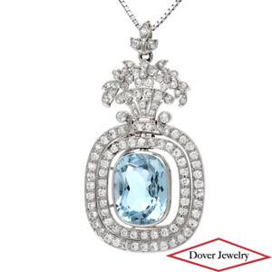 Antique Tiffany & Co. Diamond 10.90ct Aquamarine Platinum Pendant Necklace