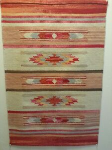 100% Wool / Nylon Pink Rug 2X3ft. Hand Woven Indian Bohemian Small Carpet
