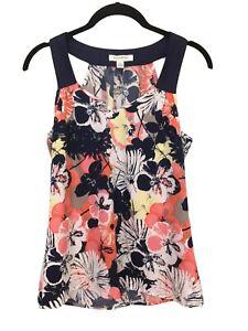 Banana Republic~Women's XS Tunic~Cleopatra Neckline~Navy/Coral~Multi~Floral~EUC