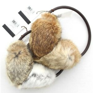 Coach 84010 Authentic Rabbit Fur Earmuffs Natural Color Brown Leather Head Band