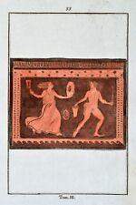 Griechische Mythologie Vasen Greek Mythology Vases ca 1850 Original Radierung 33