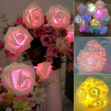 20 LED Rose Flower Fairy String Light Battery Operated Wedding Garden Party XMAS