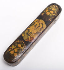 19th Cen Persian Qajar Papier Mache Qalamdan Pen Box.