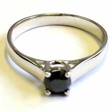 Round Sterling Silver Solitaire Engagement Fine Diamond Rings