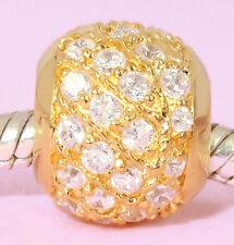 SOLID 9CT 9K GOLD Elegant BEAD w 44 CZ gems paved Fit Charm Bracelet /Necklace