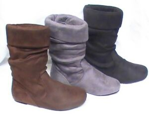 Girl Suede Slouchy w/ Cuff Boots (JOLYN-9) Toddler Blacks Brown