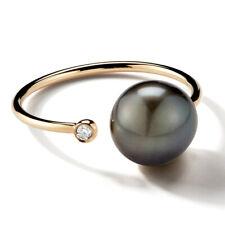 Mizuki Sea of Beauty Open Diamond Black Pearl Thin Ring Yellow Gold New