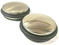 Round Chrome Metal Door Stop Rubber Floor Protector Stopper Heavy Weight 1.2KG
