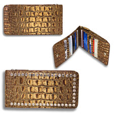 Raviani Wallet in Embossed Crocodile Cowhide Leather and Crystals